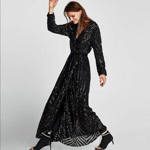 1e01698c Black Sequin Dress Long Sleeve Zara – Little Black Dress | Black ...